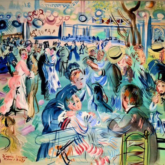 Le Moulin de la Galette, 1937 Aquarelle sur gouache sur papier vélin d'Arches